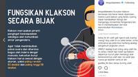 Jangan Jadi Polusi Suara, Bunyikan Klakson Dengan Bijak (instagram @tmcpoldametro)