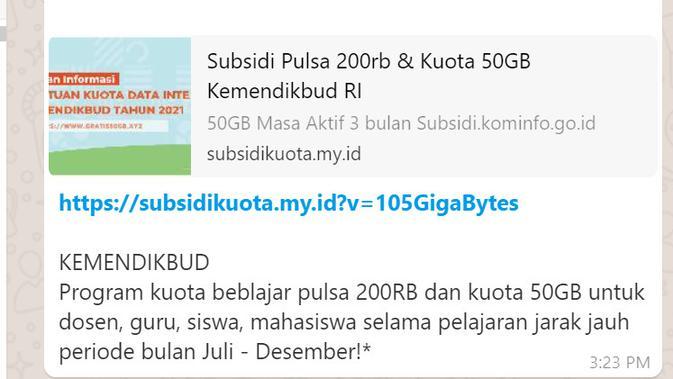 Cek Fakta Liputan6.com mendapati informasi subsidi pulsa 200 ribu dan Kuota 50 GB periode Juli-Desember dari Kemendikbud