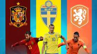 Piala Eropa - Sergio Ramos, Zlatan Ibrahimovic, Virgil van Dijk (Bola.com/Adreanus Titus)
