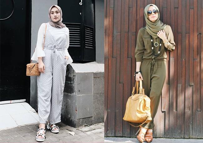 Hijab style dengan jumpsuit yang cantik dan menawan/copyright pinterest.com