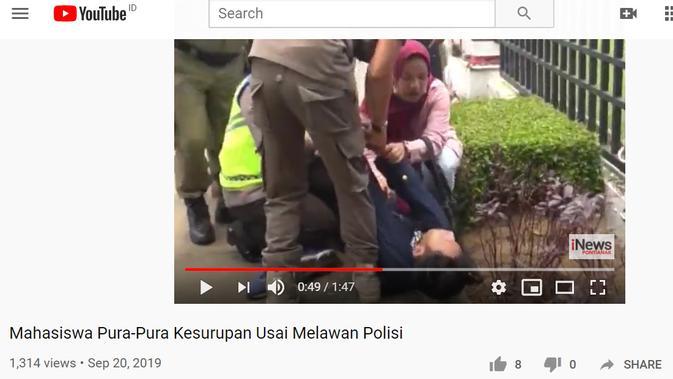 [Cek Fakta] Viral Video Demonstran 'Dicekik' Aparat, Ini Faktanya (YouTube)