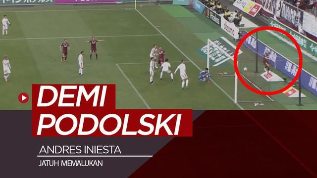 Berita video Andres Iniesta terjatuh demi Lukas Podolski mencetak gol di Liga Jepang saat pertandingan Vissel Kobe melawan Shimizu S-Pulse