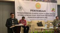 Kepala Badan Penyuluhan dan Pengembangan SDM Pertanian (BPPSDMP) Kementerian Pertanian Dedi Nursyamsi memberikan sambutan acara pertemuan di Bandung. (Liputan6.com/Huyogo Simbolon)