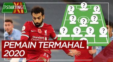 Berita motion grafis Starting XI termahal 2020, ada Mohamed Salah dan Bruno Fernandes.
