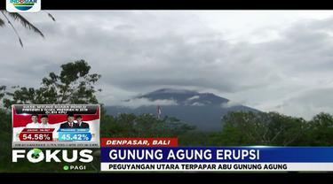 Laporan pos pengamatan Gunung Agung, erupsi terjadi pada pukul 03.21 WITA.