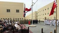 Proses peresmian pangkalan militer Inggris di Bahrain, United Kingdom Naval Support Facility di Mina Salman (5/4/2018) (sumber: Twitter/Chris Deverell, UK Joint Forces Command)