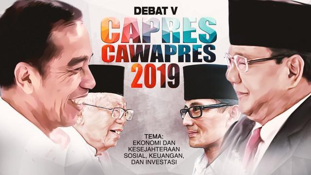 Debat kelima Pilpres 2019 dengan tema Ekonomi dan Kesejahteraan Sosial, Keuangan, Investasi, serta Industri berlangsung di Hotel Sultan, Jakarta.