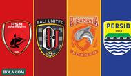 Trivia - Logo Klub PSM Makassar, Bali United, Borneo FC, Persib Bandung (Bola.com/Adreanus Titus)