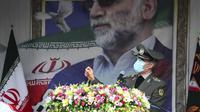 Menteri Pertahanan Iran, Jendral Gen. Amir Hatami, bicara di pemakaman ilmuwan nuklir Mohsen Fakhrizadeh. Dok: Kementerian Pertahanan Iran