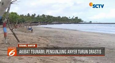 Seminggu pasca dilanda tsunami, obyek wisata pantai di kawasan Anyer sepi pengunjung. Pengelola mengaku rugi miliaran rupiah, padahal pihaknya sudah melakukan diskon besar-besaran.