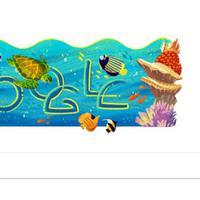 Keindahan Taman Nasional Bunaken jadi Google Doodle hari ini, Selasa (14/8/2018). (Screen Capture Google)