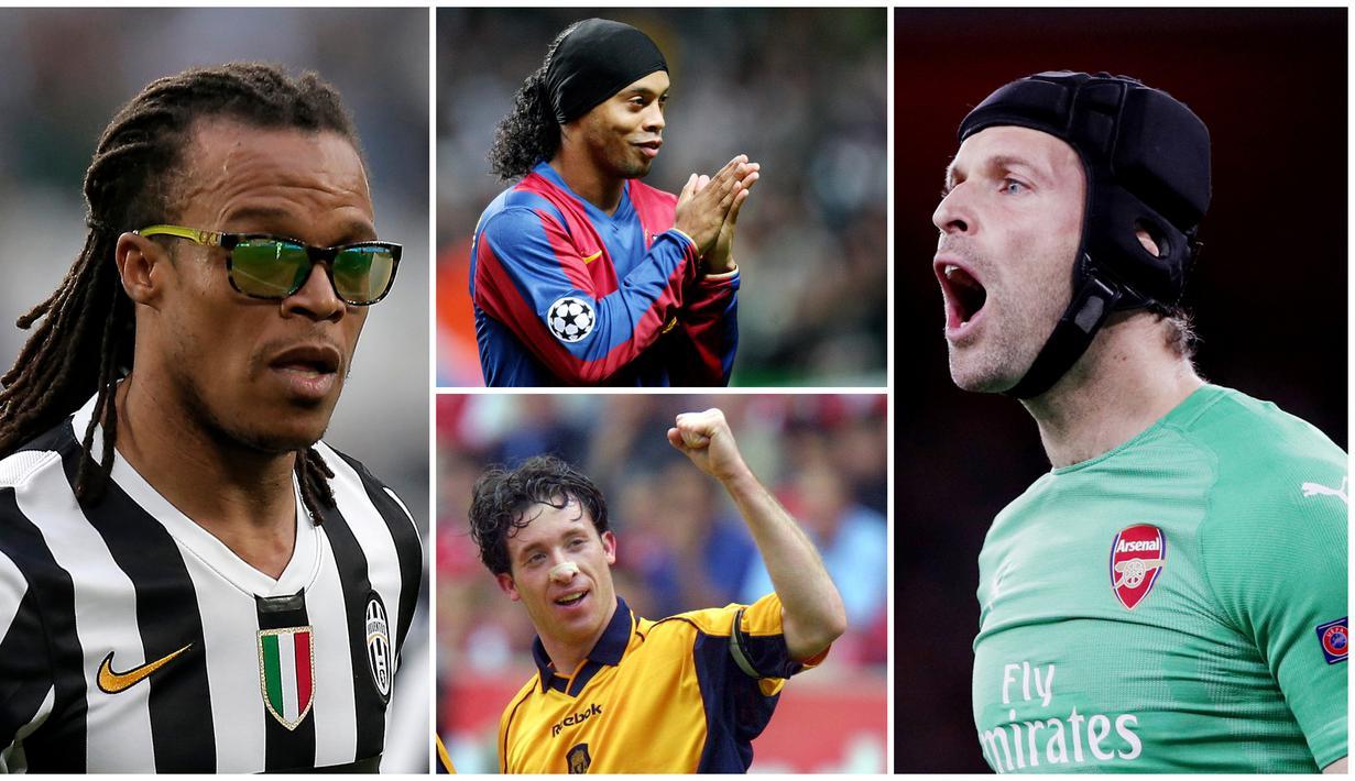 Berikut ini tujuh asesoris yang biasa digunakan pesepak bola saat beraksi di medan laga. Diantaranya, kaca mata, bandana, helm rugby. (Foto Kolase AP dan AFP).