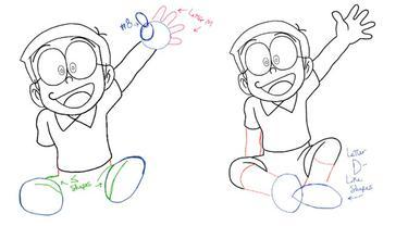 Cara Menggambar Doraemon Dan Kawan Kawan Mudah Dengan Bantuan Huruf