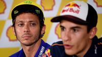 Valentino Rossi belum melupakan insiden dengan Marc Marquez di MotoGP 2015. (AFP/Manan Vatsyayana)