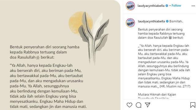 Unggahan Laudya Cynthia Bella soal berserah diri kepada Tuhan (Instagram)