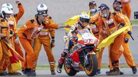 Marc Marquez merupakan juara bertahan MotoGP Jerman sepanjang 2013 hingga 2019. Namun sepanjang 2020 Marquez harus istirahat akibat cedera panjang yang dideritanya. (Foto: AP/DPA/Jens Buettner)