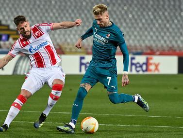 FOTO: Gol Injury Time Buyarkan Kemenangan AC Milan atas Crvena Zvezda