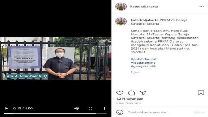 Gambar Tangkapan Layar Unggahan dari Akun Instagram @katedraljakarta.