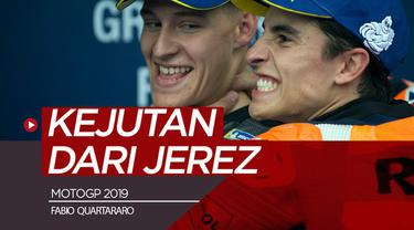 Berita video kejutan terjadi di MotoGP Jerez pada sesi kualifikasi di mana pembalap rookie, Fabio Quartartaro, menjadi yang tercepat dan meraih pole position.