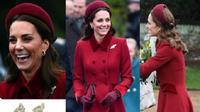 Kate Middleton menghadiri misa Natal Kerajaan Inggris di Sandringham dengan penampilan serba burgundy. (dok. Instagram @royal.addicted/https://www.instagram.com/p/Br0OZAtAa85/Dinny Mutiah)