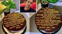 Butuh waktu satu jam untuk menulis curhatan di atas kue ulang tahun ayahnya. (Sumber: mStar)