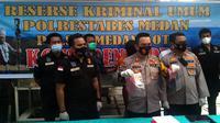 Wakapolrestabes Medan, AKBP Irsan Sinuhaji, saat konferensi pers di RS Bhayangkara Polda Sumut, Jalan KH Wahid Hasyim, Kota Medan