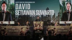 Deputi Direktur Program SCTV David Setiawan Suwarto hadir dalam konferensi pers ONE: Kings of Courage di Jakarta, Kamis (18/1). Pertandingan yang bertemakan 'King Of Courage' akan diselenggarakan 20 Januari 2018. (Liputan6.com/Faizal Fanani)