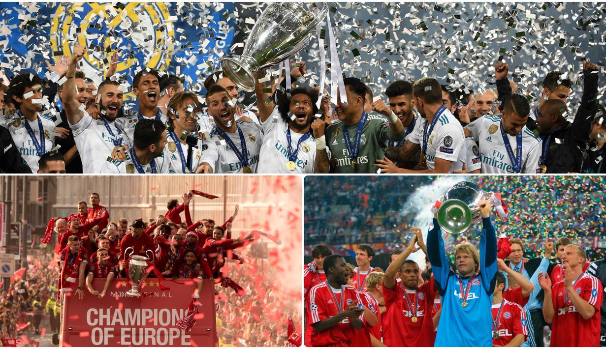 Liga Champions atau UEFA Champions League menjadi kejuaraan kasta tertinggi sepak bola antar klub di Eropa. Berikut 5 klub yang meraih banyak trofi Liga Champions. (kolase foto AFP)