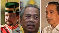 Sultan Brunei Hassanal Bokiah, PM Malaysia Muhyiddin Yassin, dan Presiden RI Jokowi. Dok: AFP dan Biro Pers Kepresidenan