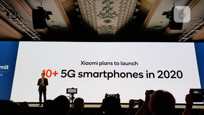 Co-Founder sekaligus Vice Chairman Xiaomi Corporation Xiaomi Lin Bin umumkan smartphone pertama dengan Snapdragon 865. (Liputan6.com/ Agustin Setyo W)