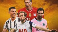 Ilustrasi - Lionel Messi, Cristiano Ronaldo, Robert Lewandowski, Harry Kane (Bola.com/Adreanus Titus)
