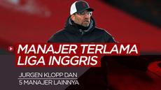 Berita motion grafis Jurgen Klopp dan 5 manajer paling awet di Liga Inggris saat ini.