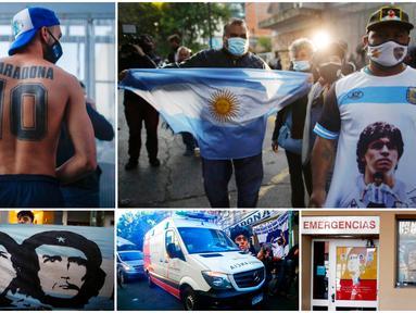 Sejumlah fans memberi dukungan untuk Diego Maradona yang sedang terbaring di rumah sakit. Legenda sepak bola Timnas Argentina itu dilaporkan mengalami pembekuan darah di otak.