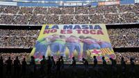Barcelona memiliki akademi La Masia yang dianggap sukses mengorbitkan beberapa pemain berbakat. (AFP/Josep Lago)