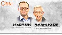 Dr. Geoff Jiang, Vice President Ant Financial dan Professor Wong Poh Kam, Senior Director NUS Entrepreneurship Centre di NUS Enterprise. Liputan6.com/Triyasni