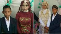 (Foto: © Wargabanua/Instagram) Pasangan pengantin cilik asal Desa Tungkap, Kalimantan Selatan menjadi viral di jejaring sosial karena keduanya masih di bawah umur. Pasangan pria masih 14 tahun dan mempelai wanita berusia 15 tahun