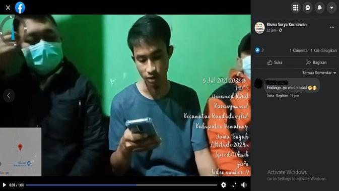 Gambar Tangkapan Layar Video dari Akun Facebook Bisma Surya Kurniawan.