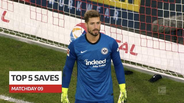 Berita video 5 saves terbaik yang terjadi pada pekan ke-9 Bundesliga, termasuk yang dilakukan kiper Eintracht Frankfurt, Kevin Trapp.