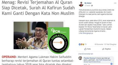[Cek Fakta] Menteri Agama Lukman Hakim Saifuddin