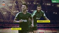 Dua penyerang andalan Timnas Indonesia U-22 di Piala AFF 2019, Marinus Wanewar dan Dimas Drajad. (Bola.com/Dody Iryawan)