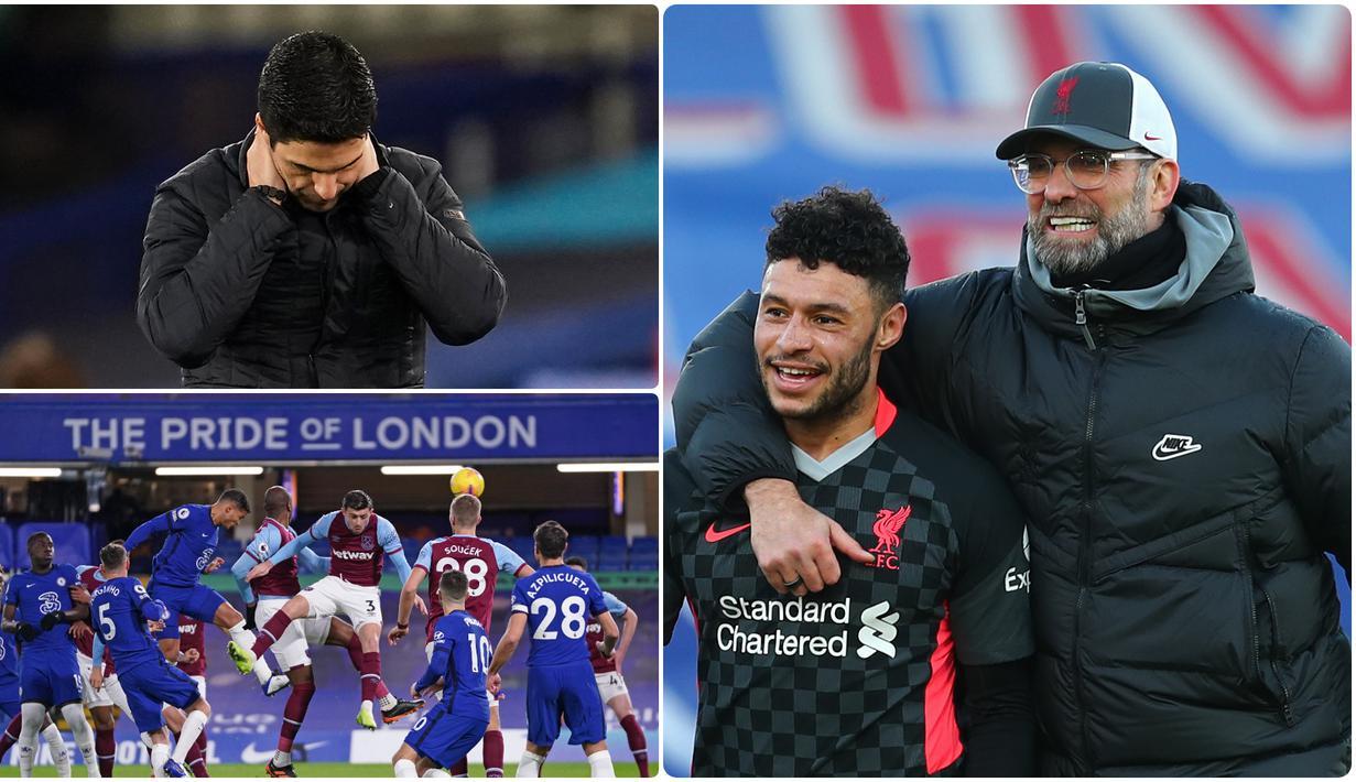 Liverpool semakin nyaman menduduki puncak klasemen sementara Liga Inggris usai berpesta 7 gol ke gawang Crystal Palace, sementara itu Arsenal semakin terpuruk usai menelak kekalahan di markas Everton. Berikut rangkuman menarik kompetisi Liga Inggris di pekan ke-14. (kolase foto AFP)