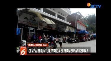 Gempa beruntun kembali guncang Mamasa, Sulawesi Barat, warga yang beraktivitas di dalam ruangan berhamburan ke jalan.