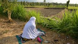 Seorang salat dekat sawah di Kecamatan Kayangan, Lombok Utara, Nusa Tenggara Barat (NTB), Rabu (8/8). Gempa Lombok meluluhlantakkan rumah, pertokoan, tempat ibadah, dan bangunan lainnya. (SONNY TUMBELAKA/AFP)