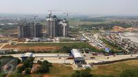 Suasana pembangunan kota baru berskala internasional di Kota Meikarta, Lippo Cikarang, Sabtu (13/05). Meikarta merupakan proyek investasi Lippo terbesar yang pernah dikerjakan selama 67 tahun di bidang properti. (Liputan6.com/Fery Pradolo)