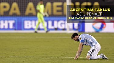 Argentina takluk 2-4 dalam babak adu penalti dari Cile di Final Copa America 2016, Leo Messi gagal mengeksekusi penalti.