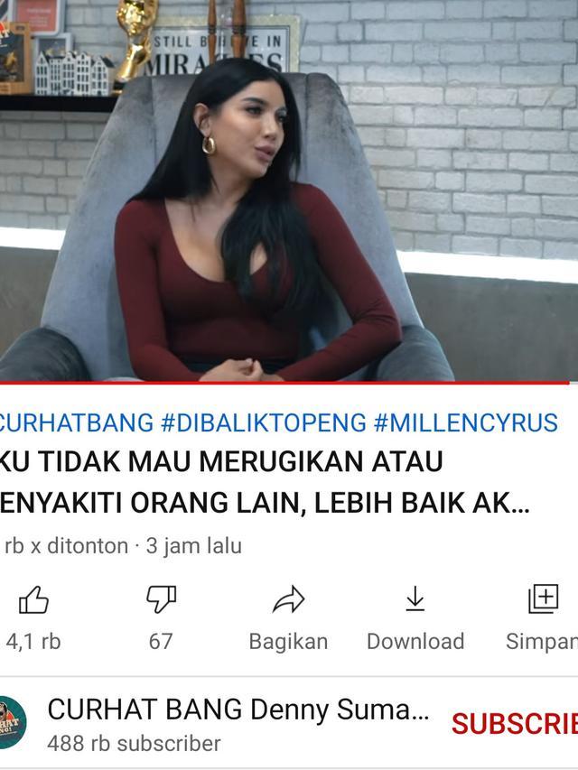 Millen Cyrus di kanal YouTube Denny Sumargo. (Foto: YouTube Curhat Bang Denny Sumargo)