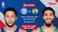 Live streaming NBA, Sixers vs Celtics, Sabtu (23/1/2021) pukul 07.30 WIB dapat disaksikan melalui platform Vidio. (Dok. Vidio)
