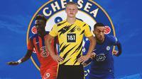 Chelsea - Tammy Abraham, Erling Haaland, Hakim Ziyech (Bola.com/Adreanus Titus)