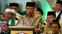 Ketua Umum PBNU Said Aqil Siradj, memberikan sambutan pada acara Multaqo Ulama, Habib dan Cendekiawan Muslim di Hotel Kartika Chandra, Jakarta, Jumat (3/5/2019). Pertemuan tersebut mengajak umat Islam untuk membangun ukhuwah dan rekonsiliasi pasca Pemilu. (Liputan6.com/Johan Tallo)