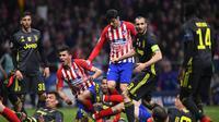 Aksi Alvaro Morata pada leg 1, babak 16 besar Liga Champions yang berlangsung di stadion Wanda Metropolitano, Madrid., Kamis (21/2). Atl Madrid menang 2-0 atas Juventus (Javier Soriano)